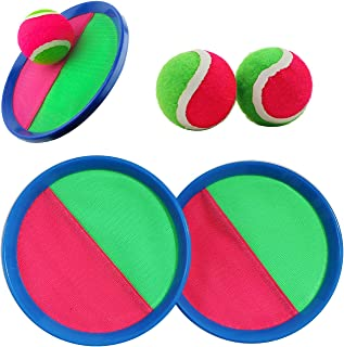 Robmoda Paddle Toss and Catch Ball Set 7 Inch Self Stick Paddle Games Toy for Kids Teens and Adults (2 Paddles and 2 Balls