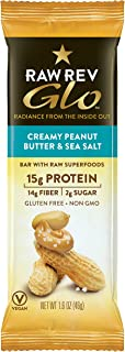 Raw Rev Glo Protein Bars, Creamy Peanut Butter & Sea Salt, 1.6 Ounce each Bar, 12 Count (Pack of 1) 15g Protein, 2g Sugar, 14g Fiber, Keto-Friendly, Vegan, Plant-Based Protein, Gluten-Free Snack Bar