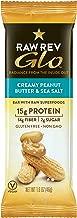 Raw Rev Glo Protein Bars, Creamy Peanut Butter & Sea Salt, 1.6 Ounce each Bar, 12 Count (Pack of 1) 15g Protein, 2g Sugar, 14g Fiber, Keto-Friendly, Vegan, Plant-Based Protein, Gluten-Free Snack Bar