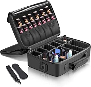 SODIAL Makeup Train Case–3 Layers Waterproof Travel Makeup Bag Cosmetic Organizer Kit Artist Storage Case Brush Holder with Adjustable Divider
