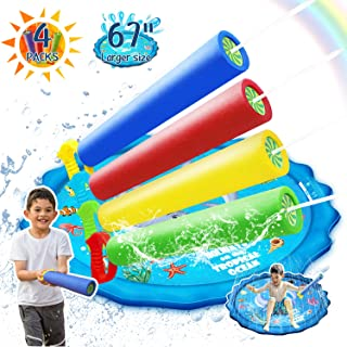 "Abida Splash Pad, 67"" Outside Sprinkler Play Mat for Kids and 4 Colorful Packs Water Baster Squirt Guns for Kids & Adults"