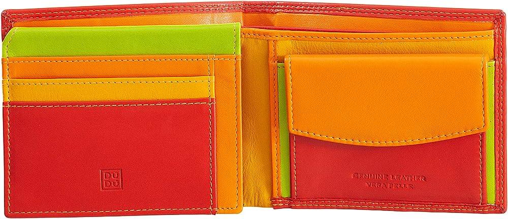 Dudu portafoglio porta carte di credito con protezione anticlonazione multicolore in pelle per uomo 8031847154887