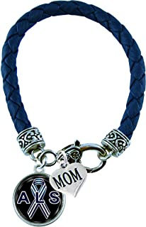 Holly Road Bracelet Custom ALS Lou Gehrig's Awareness Blue Leather MOM OR DAD Charm ONLY Jewelry