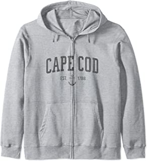Cape Cod Massachusetts 1788 Nautical Look - Men Womens Zip Hoodie