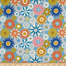 Cotton + Steel Freshly Picked Garden Fabric, Blue, Fabric By The Yard