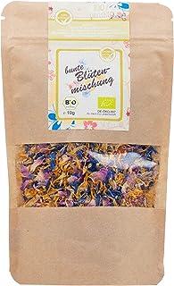 direct&friendly Bio bunte Blütenmischung - farbenfrohe Essblüten-Mischung aus Rosen-, Ringelblumen- und Kornblumenblütenblättern 10 g