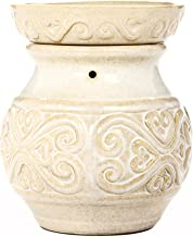 Hosley 6 Inch High Cream Ceramic Electric Candle Warmer Ideal Gift for Wedding Spa and Aromatherapy Use Brand Wax Melts Cubes Essential Oils and Fragrance Oils O4