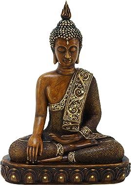 "Benzara Asian-Themed Sitting Polystone Buddha Sculpture, 15 by 12"", Textured Bronze Finish"