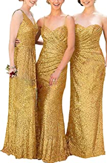 ModeC Long Sequin Bridesmaid Dresses Sheath Formal Prom Gowns Glitter Pleated Evening Dress
