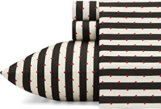 Betsey Johnson Wonderland Stripe Sheet Set Queen Black
