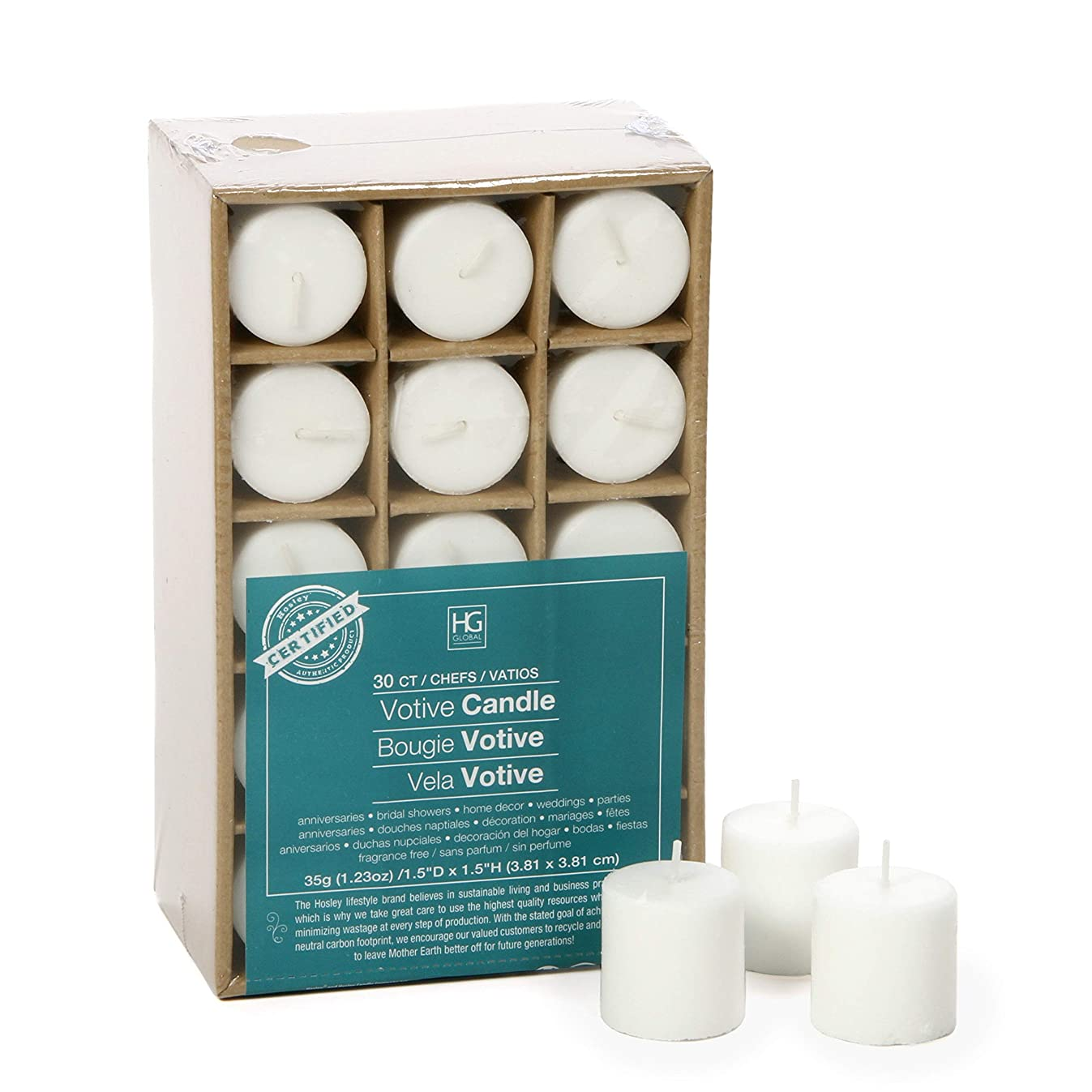 Hosley Set of 30 White Unscented Votive Candles. Up to 10 Hour Burn. Bulk Buy. Wax Blend. Ideal for Wedding, Birthday, Spa, Aromatherapy, Party, Everyday Use O2