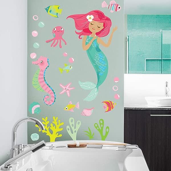 Wallies Vinyl Wall Decals Mermaid Wall Sticker For Girls Bedroom Or Bathroom 26 Pc