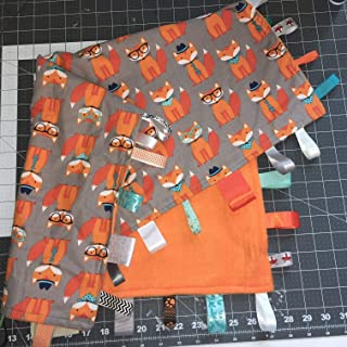 Fox Baby Security Blanket with Ribbon Tabs ~