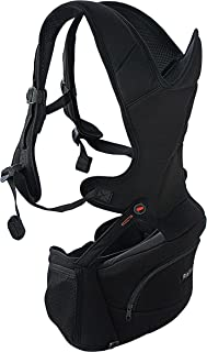 MiaMily Hipster Essential Baby Carrier - 3 Carry Positions, Ergonomic Design Provides Hip Support to Child (Black)