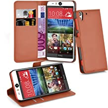 Cadorabo Book Case Works with HTC Desire Eye in Saddle Brown – with Magnetic Closure, Stand Function and Card Slot – Wallet Etui Cover Pouch PU Leather Flip