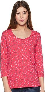 Amazon Brand - Symbol Women's plain Regular Fit 3/4 Sleeves cotton T-Shirt