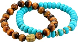 Stabilized Turquoise and Tiger Eye Beaded Bracelet Set