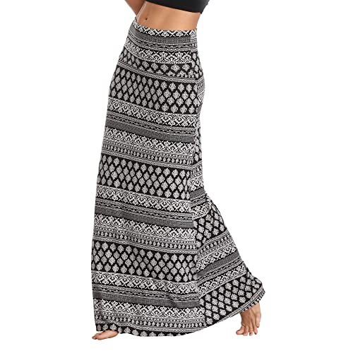 f44662a033 Urban CoCo Women's Stylish Spandex Comfy Fold-Over Flare Long Maxi Skirt