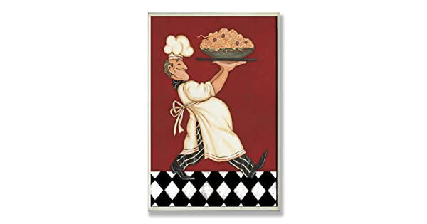 The Stupell Home Decor Collection Chef with Pasta Red Kitchen Wall Plaque The Stupell Home Décor Collection KWP-952