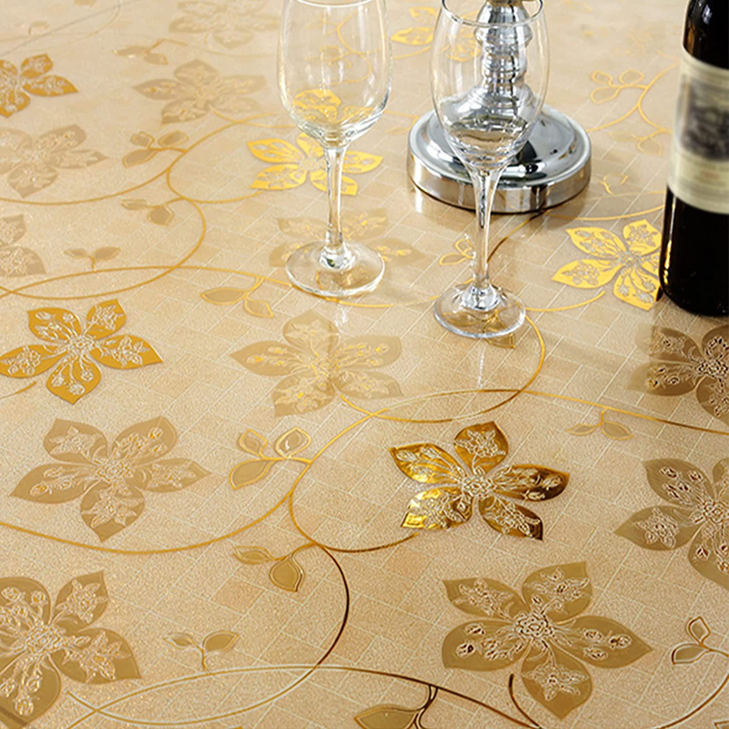 Time sale NBJT Clear Table Cover Protector Golden PVC Soft Leaves Special Campaign 1mm Gla