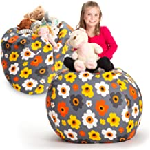 "Creative QT Stuffed Animal Storage Bean Bag Chair - Extra Large Stuff `n Sit Organization for Kids Toy Storage - Available in a Variety of Sizes and Colors (38"", Daisy Grey)"