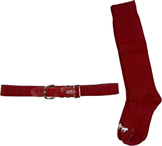 Rawlings BELTSOCKM-RED Baseball Belt & Sock Combo (Youth Medium/Red)