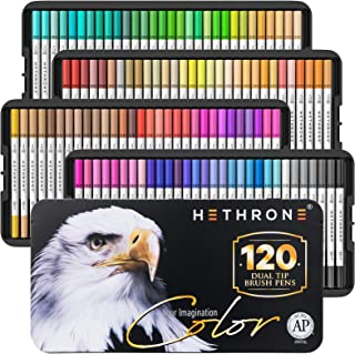 120 Colors Dual Tip Brush Pens with Brush Highlighter and Fine Tip Markers Art for Adults Kids for Coloring Books Bullet J...