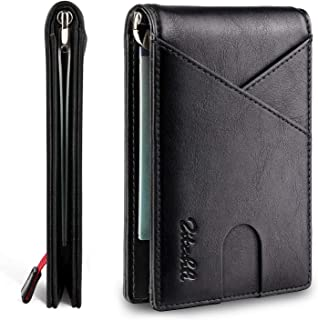 Zitahli Mens Slim Wallet with Bill Pocket RFID-blocking Leather Bifold Wallets