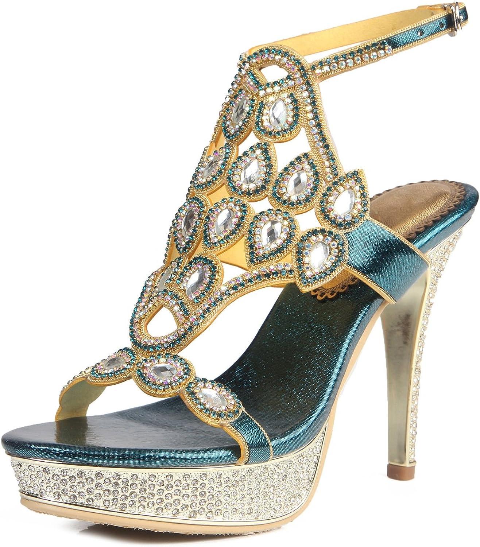 HUAN Woherrar skor läder Sommar Mode Sandaler Sandaler Sandaler Open Toe Rhinestone Crystal Sparking Glitter Buckle Chain for Dress Party  handla online idag