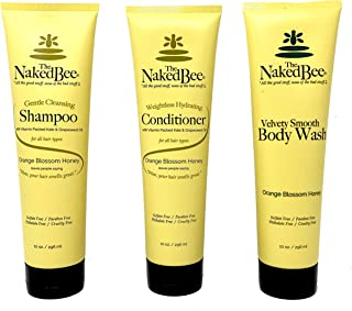 The Naked Bee Orange Blossom Honey Shampoo, Conditioner, Velvety Smooth Body Wash Set, 10oz ea (Pack of 3, 1 of ea) Sulfate-Free, Paraben-Free, Cruelty-Free
