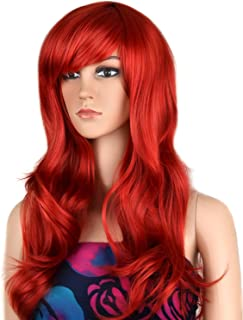 Ecvtop Wigs 28 inch Wavy Curly Cosplay Wig Women Wig Long Hair Heat Resistant Wig (Red)