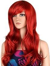 Ecvtop Wigs 28 inch Wavy Curly Cosplay Wig Women Wig Long Hair Heat Resistant Wig (Red)