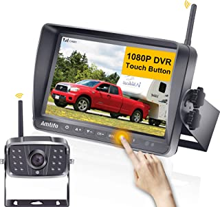 AMTIFO A8 FHD 1080P RV Wireless Backup Camera with 7'' Touch Key DVR Split Screen Monitor Rear Observation System for RVs,...