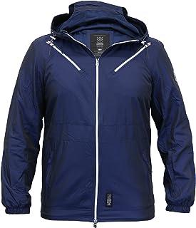 Crosshatch Mens Windbreaker Jacket Coat Hooded Mesh Lined Zip Casual Summer New