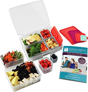 Portion Control Lunch Box with Weight Loss Plan Booklet - Meal Prep Container Kit - Clear/Melon
