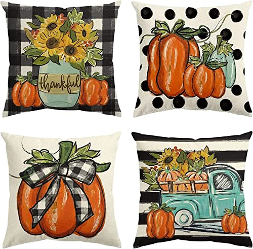 2021 Fall Pillow Covers 18 high quality x 18 Inch Pumpkin Autumn Harvest Pillowcase Thanksgiving Decorative online sale Cushion Case for Sofa Couch Home Decor, Set of 4 outlet online sale