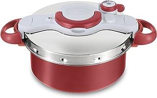 Tefal Clipso Minut Duo Olla a presión de 5 L de aluminio con 5 sistemas de seguridad y cierre fácil con una sola mano, color gris y rojo