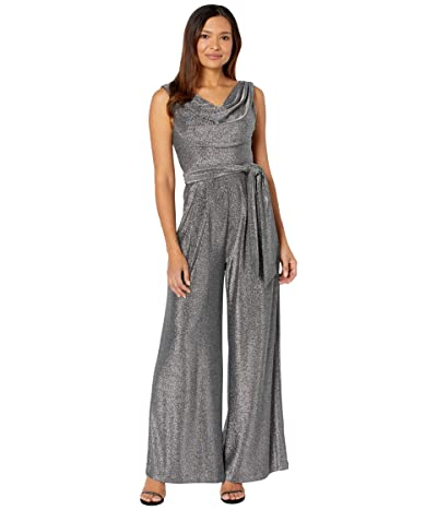 Vince Camuto Sleeveless Jumpsuit with Cowl Neck (Black/Silver) Women