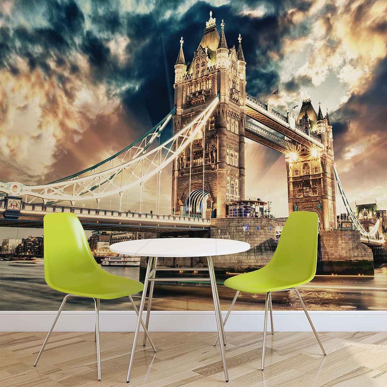 Stadt London Tower Bridge- Forwall - Fototapete - Tapete - Fotomural - Mural Wandbild - (846WM) - XXXL - 416cm x 254cm - VLIES (EasyInstall) - 4 Pieces B01JSDJNIE