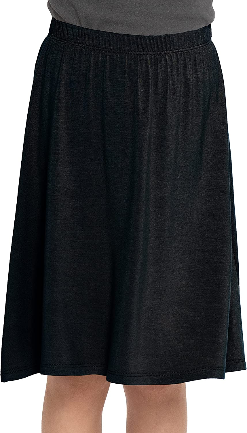 Premium Stretch Youth Girls Knee Length Flowy A-Line Skirt   Kids   Made in USA