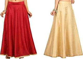 STUDIO Shringaar Women's Poly Raw Silk Skirt Lehenga Combo Of Maroon And Golden (2 Pc Combo)