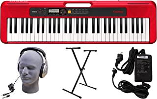 Casio CT-S200RD 61-Key Premium Keyboard Pack with Stand, Hea
