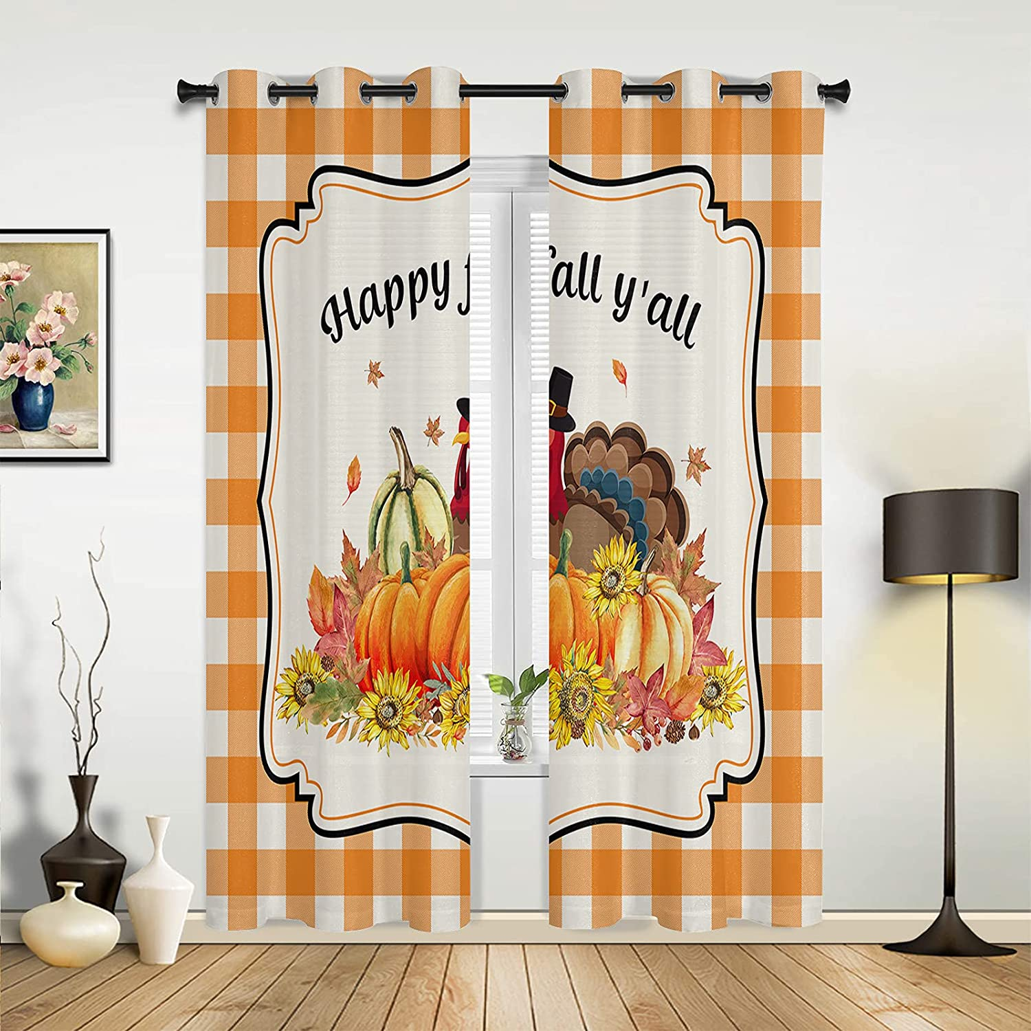 Window Sheer Curtains for Bedroom Cheap Room online shop Happy Living Thanksgiving