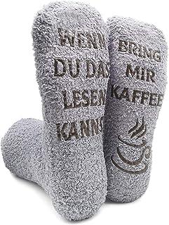 iZoeL, Divertidos calcetines para mujer, novia, señor y mujer, calcetines de peluche con texto en alemán