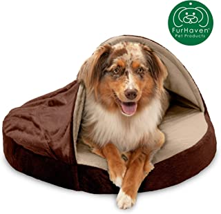 Furhaven Pet Dog Bed   Orthopedic Round Cuddle Nest Snuggery Burrow Blanket Pet Bed w/ Removable Cover for Dogs & Cats - Available in Multiple Colors & Styles