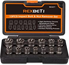 REXBETI Impact Bolt & Nut Remover Set, 13 Pieces Bolt Extractor Tool Set with Solid Storage Case