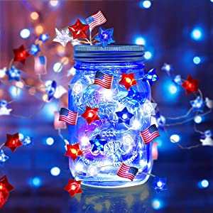 4th of July Star American Flag String Lights, 10 Ft 30 LEDs Red Blue White Stars USA American Flag String Lights, Battery Operated Patriotic Decoration for Independence Day Memorial Day Presidents Day