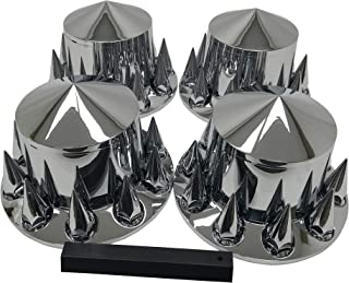 Chrome Rear Hub Wheel Cover Kit Semi ABS 33mm Spiked Nut Covers Plastic