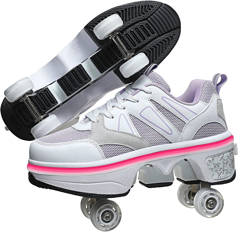 LED Women Deformation Recommendation shop Roller Skate Walking S ,Double-Row Shoes