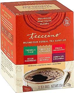 Teeccino Mushroom Herbal Tea – Mushroom Adaptogen Tea Sampler – Support Your Health With Mushrooms and Adaptogenic Herbs, ...